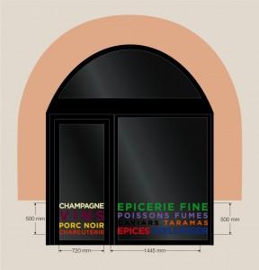 Marquage adhésif sur vitre de l'épicerie moderne